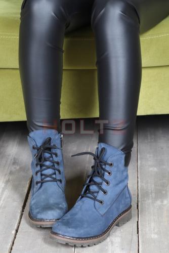 Зимние ботинки из нубука 128 шерсть синие 36-41