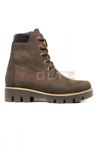 Коричневые зимние ботинки из нубука 128 толстой подошве Sandra