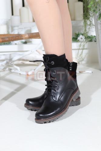 Женские зимние ботинки 128A черная кожа/замша