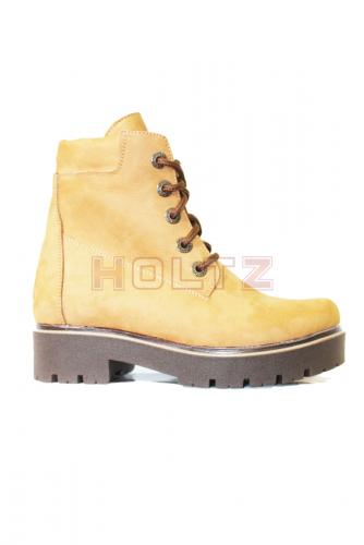 Зимние ботинки 128/1 из рыжего нубука на толстой коричневой подошве