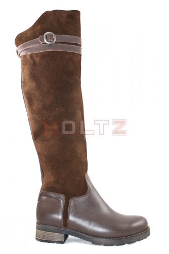 Зимние коричневые высокие сапоги ботфорты 011-2