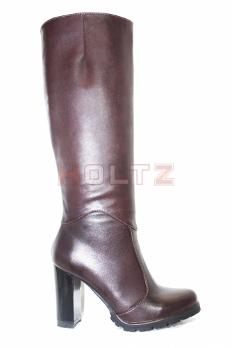 Женские сапоги из бордовой кожи на высоком каблуке 75 Wild Cherry