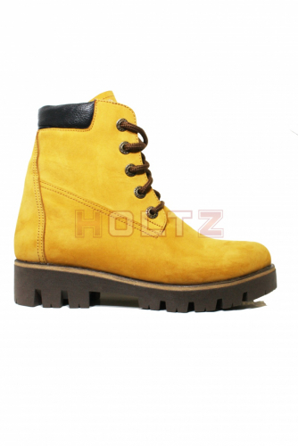 Желтые зимние ботинки из нубука 128 толстой подошве Sandra