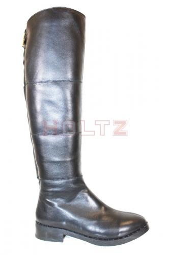 Женские зимние высокие черные кожаные сапоги Trinity 2
