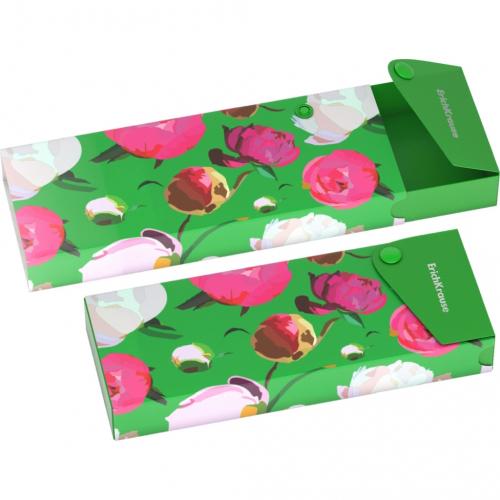 Пенал пластиковый ErichKrause® Peonies (в коробке-дисплее по 12 шт.)