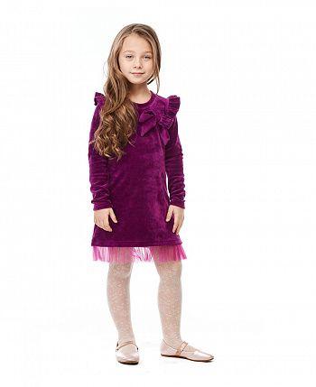 Платье Велюр с фатином фиолетовое  49-63/фиол