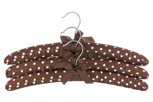 Набор вешалок 3 шт. 38*3,2*13,8 см Коричневые в горошек с коричневым бантиком. EL CASA