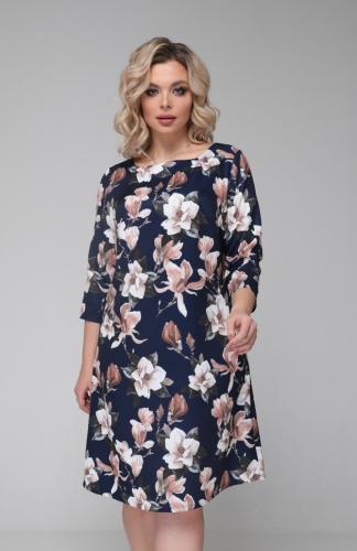 Платье 097/7 синий/цветы