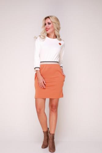 Платье 328 белый-оранжевый