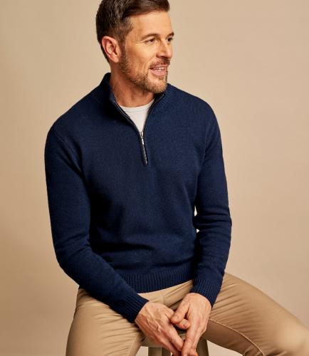 Мужской свитер с воротником на молнии из натуральной шерсти ягненка