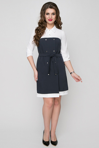 Платье #168718Синий/Белый