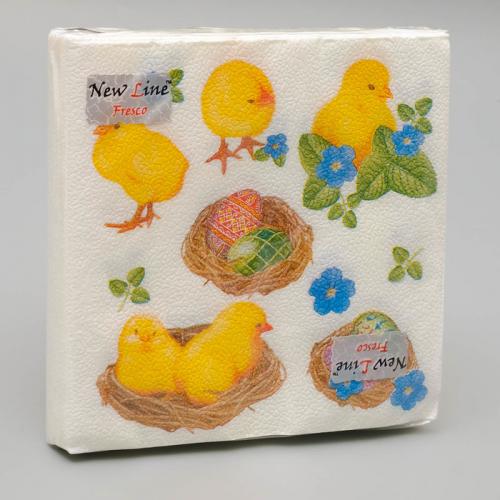 New line 33*33 Салфетки Пасхальные цыплята двухслойные  20 шт. 4843801