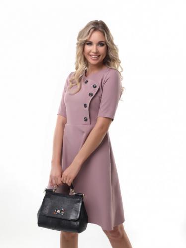 Платье с пуговицами цвет пудра