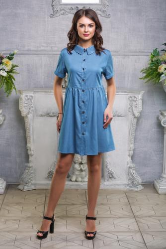 Платье бохо голубая джинса