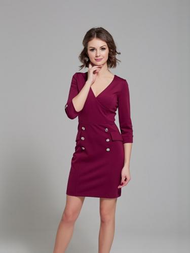 Платье цвет ягодный с пуговицами