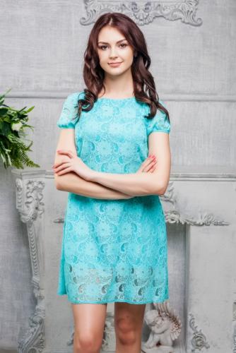 Платье кружевное цвет мятный