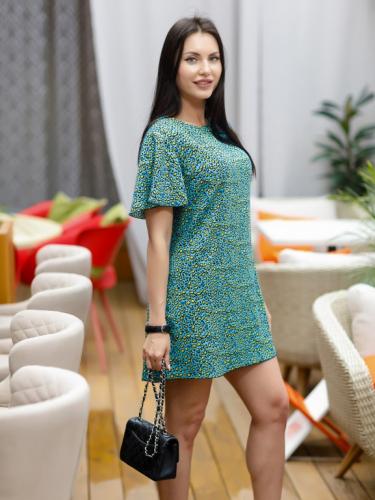 Платье леопард цвет бирюза короткое