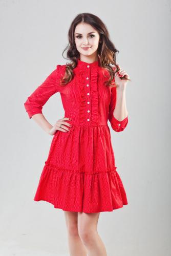 Платье цвет красный в мелкий горошек