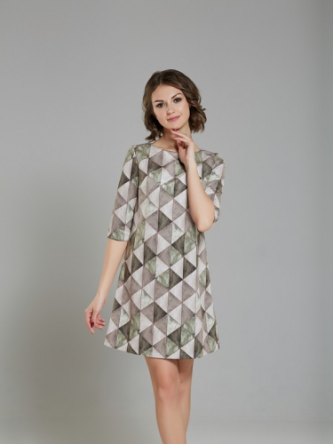 Платье замшевое принт геометрия