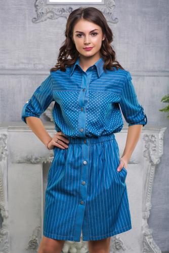 Платье джинсовое принт горох с полоской