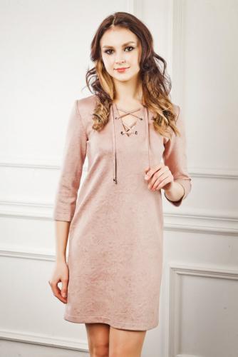Платье замшевое цвет светлая пыльная роза