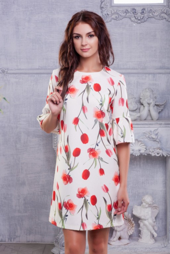 Платье принт тюльпаны бежевое