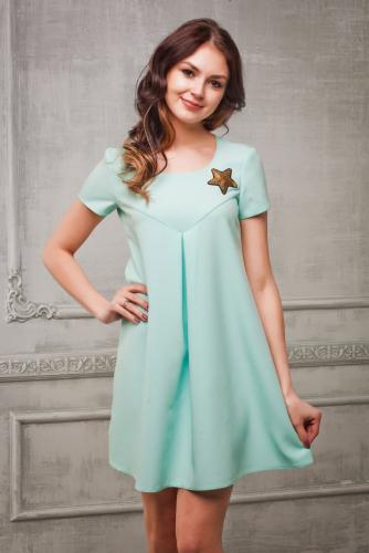 Платье цвет мята с декором из пайеток звезда