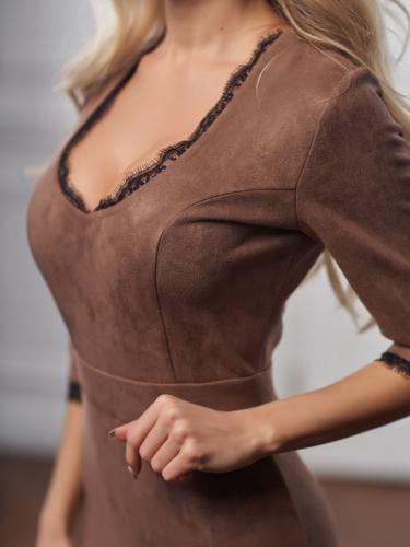 Платье из замши цвет молочный шоколад