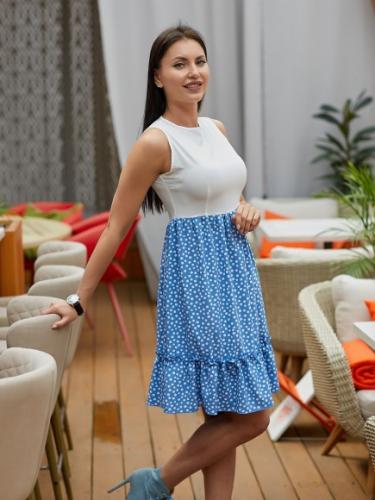 Платье с юбкой в горошек цвет голубой