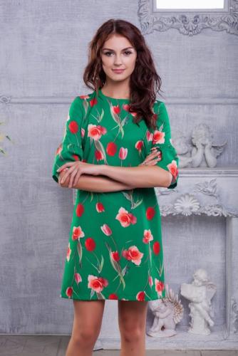 Платье принт тюльпаны цвет зеленый