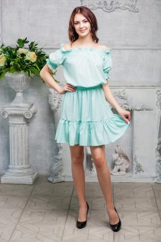 Платье с открытыми плечами цвет мята