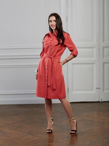 Платье цвет яркий коралл