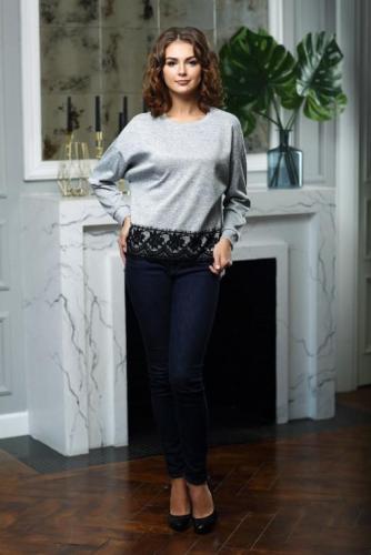 Блуза цвет серый меланж с кружевом