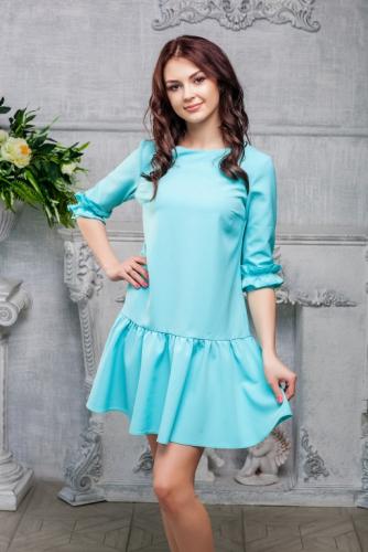 Платье с рюшами цвет тиффани