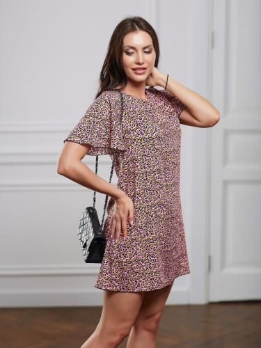 Платье леопард цвет розовый короткое