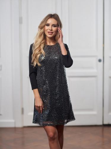 Платье с пайетками цвет серебро