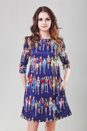 Платье принт девочки цвет синий