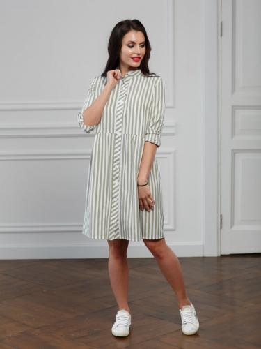 Платье -рубашка в оливковую полоску