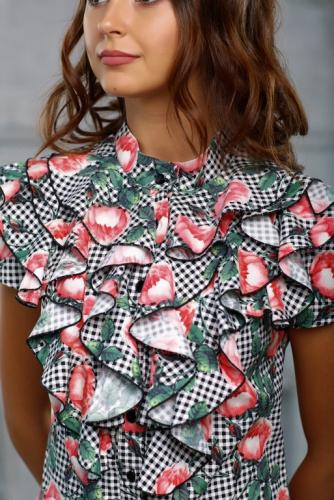 Блуза принт клетка с цветами