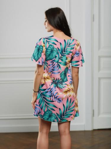 Платье розовое принт листочки