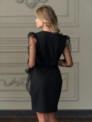 Платье с рукавами из сетки в мелкий горох