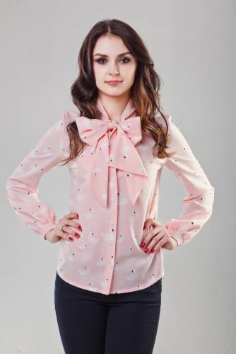 Блуза принт фламинго цвет нежно-розовый