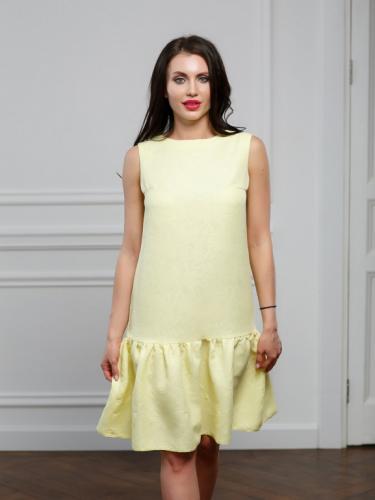 Платье из жаккарда с воланом цвет желтый