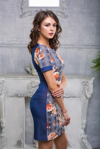 Платье клетка с джинсой