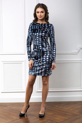 Платье бархатное цвет синий геометрия