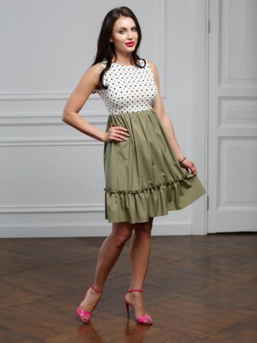 Платье в горошек цвет олива