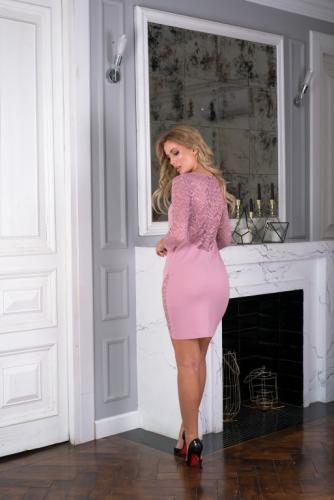 Платье цвет пудра с кружевом