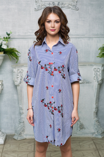 Платье-рубашка цвет синий с вышивкой