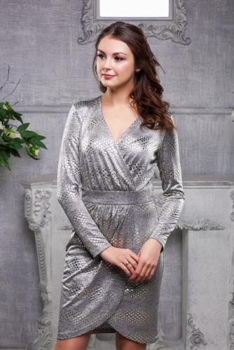Платье с люрексом цвет серебро с золотом