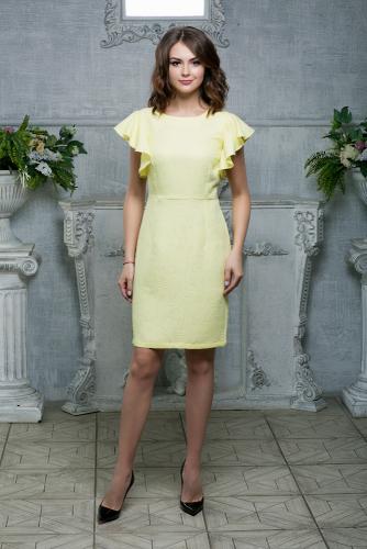 Платье жаккардовое цвет желтый